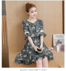 Sale Floral Indie Chiffon Female New Style Dress Dark Green Color Online China