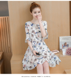 Floral Indie Chiffon Female New Style Dress White Review