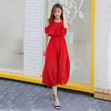 Sale Fresh Chiffon Slim Fit Slimming Beach Skirt Dress Red Oem