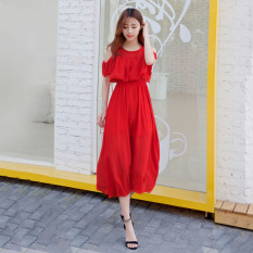 Sale Fresh Chiffon Slim Fit Slimming Beach Skirt Dress Red Oem Original