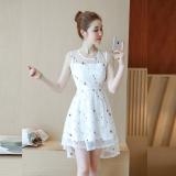 Floral Mesh Sleeveless Dress Fairy White Deal