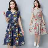 Cheap Women S Retro Mid Length Plus Size Cotton And Linen Short Sleeves Floral Pattern Dress Beige Beige Online