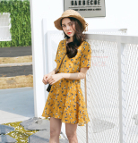 Compare Prices For Floral Sweet V Neck Slimming Chiffon Short Sleeved Dress Yellow