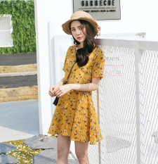 Floral Sweet V Neck Slimming Chiffon Short Sleeved Dress Yellow Deal