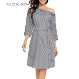 Discount Florho Off Shoulder S*xy Women Dress Vintage Striped Shirt With Belt Autumn Elegant Office Party Dresses Plus Size Black Intl Florho On China