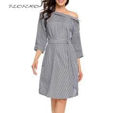 Cheapest Florho Off Shoulder S*Xy Women Dress Vintage Striped Shirt With Belt Autumn Elegant Office Party Dresses Plus Size Black Intl
