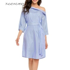 Recent Florho Off Shoulder S*xy Women Dress Vintage Striped Shirt With Belt Autumn Elegant Office Party Dresses Plus Size Blue Intl