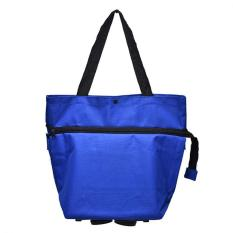 Foldable Shopping Trolley On Wheel Folding Totes Luggage Bag Lightweight Cart Blue Intl Oem Discount
