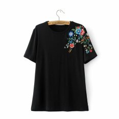 Coupon Women S Floral Embroidered Cotton Short Sleeve T Shirt Black