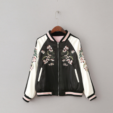 Buy Women S Korean Style Slim Fit Collar Neck Embroidery Two Way Jacket Oem Cheap