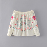Review Women S European And American Style Embroidered Sleeveless Blouse On China