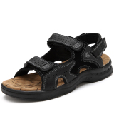 Men S Casual Cowhide Leather Sandals 1215 Black 1215 Black Reviews
