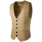 Buy Cheap Formal Business Gentleman Slim Fit Single Breasted Pure Color Fashion Waistcoat Men Suit Vest Khaki Intl