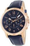 Fossil Grant Mens Navy Blue Strap Watch Fs4835 One Size Export Compare Prices