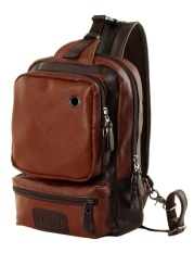 How To Buy Four Season Big Sale Casual Men S Pu Leather Multi Pockets Sling Chest Pack Bag Outdoor Single Shoulder Back Day Pack Travel Backpack Color Dark Brown Intl
