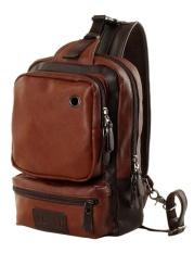 Four Season Big Sale Casual Men S Pu Leather Multi Pockets Sling Chest Pack Bag Outdoor Single Shoulder Back Day Pack Travel Backpack Color Dark Brown Intl Online