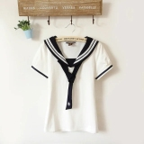 Sale Fresh Cotton Students Soft Top Tie Short Sleeve T Shirt Bowtie White Top Bowtie White Top Oem Branded