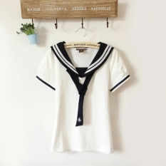 Fresh Cotton Students Soft Top Tie Short Sleeve T Shirt Bowtie White Top Bowtie White Top Free Shipping