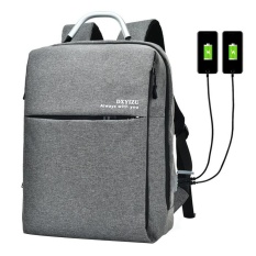 Best Price Fuskm Portable Fashion Business Sch**l Men And Women Shoulder Bag Laptop Anti Theft Computer Backpack Smart Dual Charge Port Backpack Gray Intl