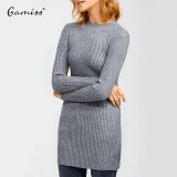 Gamiss Autumn Winter Women Elastic Dress Slim S Line Medium Style Knitted Dress Basic Solid Half Turtleneck Office Sweater Dress Intl Deal