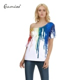 Gamiss Oil Painting Series Women Casual Tee Shirt Cold Shoulder Oil Painting 3D Printing T Shirt Top Intl Online