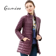 Gamiss Women Winter Light Down Jacket 90 White Duck Down Coat Long Over Knee Parka Slim Thin Long Sleeve Single Breasted Zipper Pockets 8 Colors Solid Female Outerwear Coat Intl Shop