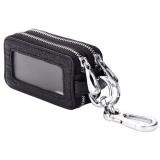 Genuine Leather Double Layer Window Door Key Car Key Zipper Holder Wallet Bag Black On China