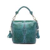How To Get Genuine Leather Handbag Women Crocodile Pattern Shoulder Messenger Bags Blue Intl