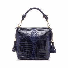 Best Buy Genuine Leather Handbag Women Crocodile Pattern Shoulder Messenger Bags Deep Blue Intl
