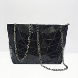 Price Geometric Folding Pvc Laser Chain Shoulder Bag Party Evening Bag Handbag Fashion Women Casual Cross Body Messenger Bag Black Oem Original