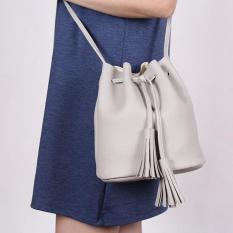 Buy Geraldine Mini Tassel Bucket Bag Grey