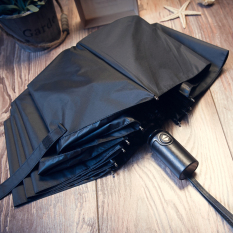 Lowest Price Germany 10 Bone Three Folding Reinforcement Type Vinyl Rain Or Shine Umbrella Black Super Wind A Drying Black Super Wind A Drying