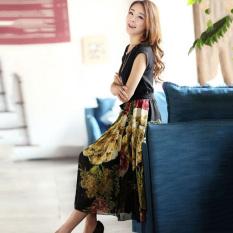 Getek Women Short Sleeve Bohemian Chiffon Dress Black Deal