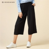 Sale Giordano Women High Rise Chiffon Cropped Loose Pants 05427241 Black Intl Giordano Branded