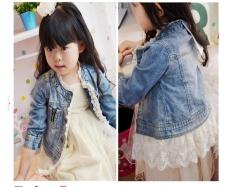 Wholesale G*rl Jacket Spring And Autumn Korean G*rl Stitching Lace Cowboy Jacket Intl