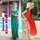 Sale Girls Beach Dress Posey Mia Large Tong Chunmian Summer Korean Style Sleeveless Dress Solid Color Children S Long Skirt Black Oem