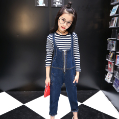 Great Deal Girls Denim Overalls Summer Models Suit 10 Years Old Zhongshan University Children S Summer 12 G*rl Students Shorts Two Piece Sets