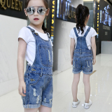 Top Rated Girls Denim Strap Shorts Thin Section Summer 2017 New Style Large Boy Casual Pants Suspenders Children S Piece Pants Tide One Piece Strap Shorts