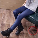 Compare Price Girls Faux Leather Velvet Pants Kids Winter Warm Thick Leggings Warmth Stretchy Skinny Trousers For 2 14 Years Old Children Pant Intl Oem On China