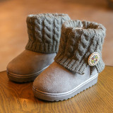 How To Buy Girls Kids Ankle Snow Boots Children Winter Warm Knitt Fur Lined Booties Shoes Gray Intl