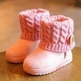 Girls Kids Ankle Snow Boots Children Winter Warm Knitt Fur Lined Booties Shoes Pink Intl Not Specified Cheap On Singapore