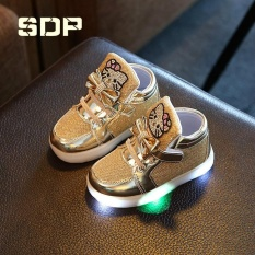 Discount Girls Shoes Little Girls Princess Children Shoes With Light Baby Fashion Hook Loop Led Shoes Kids Light Up Glowing Sneakers Eu Size 21 30 Gold Intl China