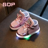 Buy Girls Shoes Little Girls Princess Children Shoes With Light Baby Fashion Hook Loop Led Shoes Kids Light Up Glowing Sneakers Eu Size 21 30 Pink Intl Oem Cheap