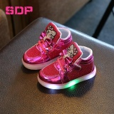 Sale Girls Shoes Little Girls Princess Children Shoes With Light Baby Fashion Hook Loop Led Shoes Kids Light Up Glowing Sneakers Eu Size 21 30 Rose Red Intl Oem Cheap