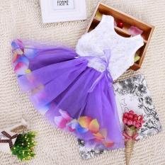 Buy Cheap Girls Sleeveless Dresses Summer Children Girls T Shirt Dresses Lace Flower Dresses L16125 Purple Intl
