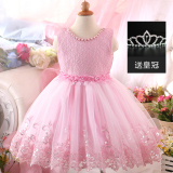 Retail Girls New Style Princess Children Dress Pink Color