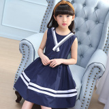 Review Cuhk College Style Cotton G*rl S Summer Princess Dress Dark Blue Color On China
