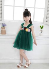 Price Girls Suspender Skirt Summer 2017 New Pure Cotton Flower Princess Dresses Han Edition Fine Gauze Children S Dress Green Intl Oem