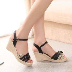 Wholesale Girls Women S Sandals Wedge Heels Weave Cute Comfy Thick Heels Color Black Intl