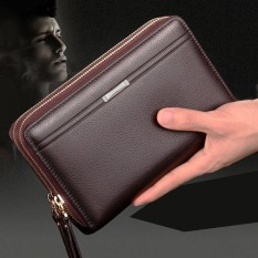 Good Men Clutch Bag Long Purse Leather Wallet Lichee Handbag Double Zippers Bag Intl Best Buy
